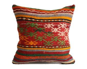 18x18 kilim pillows, decorative pillows, handmade pillow, kilim floor cushion, floor cushions, floor kilim pillow, kilim rug pillow g287