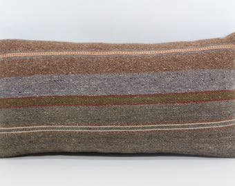 Turkish Kilim Pillow Naturel Kilim Pillow 10x20 Organic Vintage Kilim Pillow Boho Pillow Naturel Kilim Pillow Cushion Cover SP2550-988