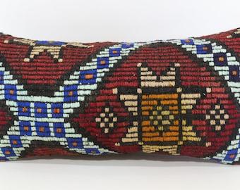 Anatolian Geometric Embroidered Kilim Pillow 12x24 Sofa Pillow Handwoven Kilim Pillow Decorative Kilim Pillow Cushion Cover  SP3060-1094