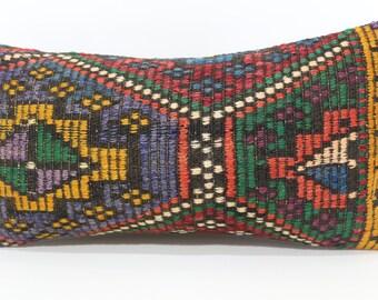 Turkish Kilim Pillow Throw Pillow 12x24 Embroidered Kilim Pillow Decorative Kilim Pillow Floor Pillow Ethnic Pillow Cushion Case SP3060-1149