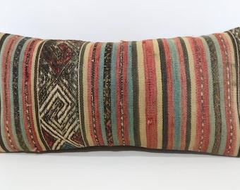 12x24 Decorative Striped Kilim Pillow 12x24 Handwoven Kilim Pillow Bohemian Kilim Pillow Turkish Kilim Pillow Cushion Cover SP3060-1158