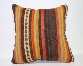 24x24 Striped Kilim Pillow Decorative Kilim Pillow Sofa Pillow 24x24 Handwoven Turkish Kilim Pillow Boho Pillow Cushion Cover SP6060-1407