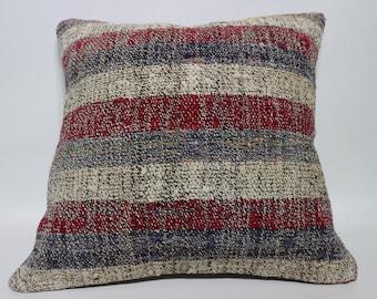 Cotton Kilim Pillow Sofa Pillow 20x20 Naturel Kilim Pillow Striped Kilim Pillow Decorative Kilim Pillow Cushion Cover SP5050-2212