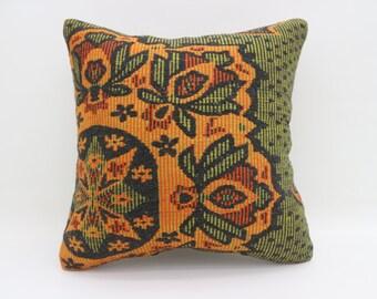 20x20 Kilim Pillows Orange And Green Pillows Handmade Pillow Turkish Pillows Big Throw Pillows Large Cushion Cover Kilim Pillows SP5050-2596