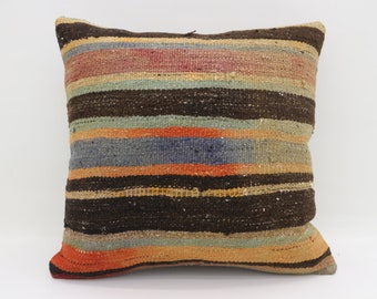 Multicolor Kilim Pillow Striped Pillow Orange Pillow 20x20 Large Turkish Kilim Pillow Bohemian Cushion Cover Pillow Black Pillow SP5050-2717