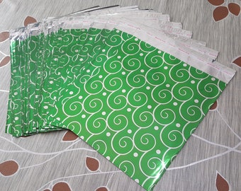 100 packaging gift bags 21x19cm green metallic cloud silver bags with tape flap