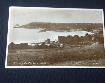 Postcard with view of St Brelade's Bay Jersey with 2d stamp Postmarked 1953