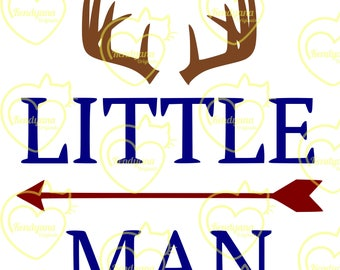 Little Man with antlers- .svg, .dxf, .png- digital file for Cricut, Silhouette, plot cutter