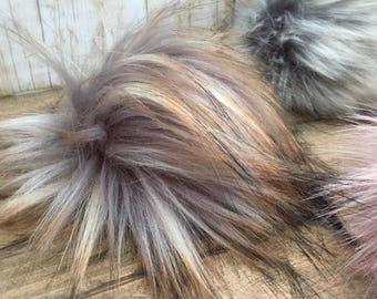 Faux Fur Pom Poms in Dark Matter-Two Sizes