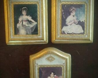 3 Florentine Wood Classic Victorian Pictures