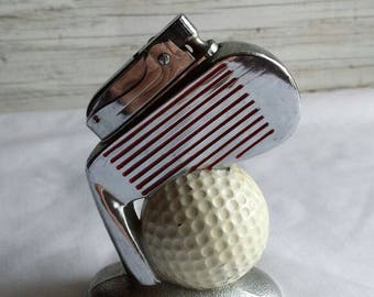 Vintage Tobacciana. 1960s TableTop-Lighter. Golf Themed.  Working Condition. 2 Available. Both Identical.  Free Shipping in the U.S.A.