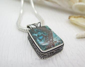 Antique Tibetan Turquoise Sterling Silver Pendant and Chain