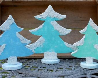 Beach Christmas Tree, Wood Trees, Beach decor, Large trees, Christmas Trees, Winter Decor, Christmas at beach, Wooden table decor, Blue tree