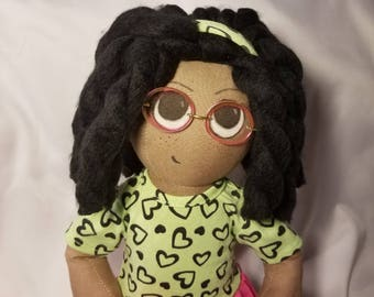 18 inch rag doll with glasses and freckles