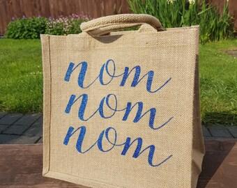 Personslised jute lunch bag, Jute lunch bag, hand painted lunch bag 'Nom Nom Nom lunch bag'
