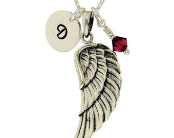 Guardian Angel Wing Sterling Silver Personalized Pendant W Swarovski Birthstone Crystal Initial Custom Letter Disc Necklace Box Chain