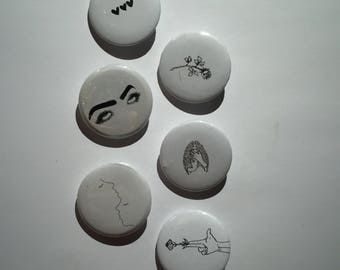 Black and white art pinback button pins