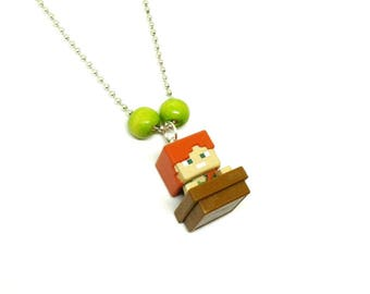 Minecraft Steve Alex boys ball chain necklace - Minecraft necklace