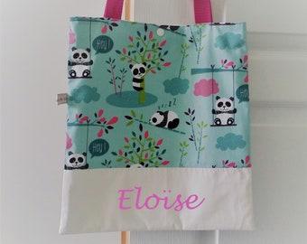 Library bag child tote bag Panda, personalized girl.