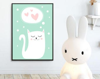 Nursery Wall Art Print, Kids Art Print, Animal Nursery Print, digital Nursery Decor, Cat poster, Kids room, kitten