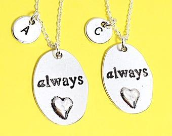 2 Always Friends Necklace, always charm,  Best Friend necklace, Silver Always Pendant,  Always Harry Potter,Best Friend Jewelry, set of 2