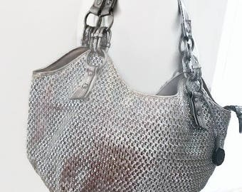 Beautiful Silver Shoulder Bag Brand SAK Vintage Handbag