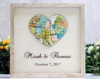 Anniversary Gift Map Heart Art Unique Wedding For Couple Engagement