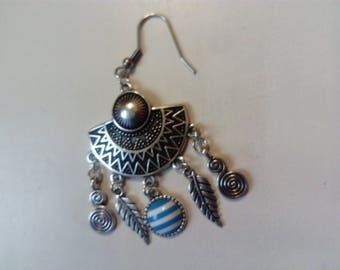 Silver dream catcher earring