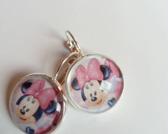 Earrings sleepers silver cabochon Mickey Disney colorful