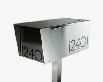 The Minimalist - Modern mailbox - stainless steel design large size - post mounted - locking - metal - post mount - W8821S