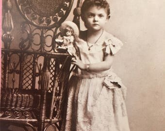 Dear Copy of Victorian Postcard of Girl with Her Doll