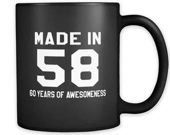Made in 58 Black Mug, 1958 Mug, 1958 Gift, 60th birthday gift, 60th birthday mug, gift for 60th, 1958 Christmas Gift #a222