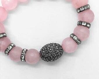 Rose Quartz & Hematite Bracelet, Pink Valentines Day Gift for Her, Gunmetal Pave Hematite Semi Precious Gemstone Bead Healing Bracelet, Boho
