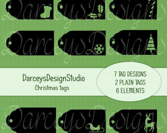 Christmas Tags, Svg, Png, Dxf and Fcm digital files, Cutting files, scan n cut, cricut, silhouette, clip art