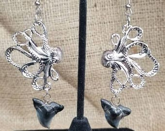 Unique Octopus and Fossil Hemipristis Snaggletooth Shark Tooth Earrings