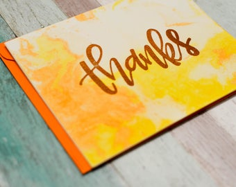 Thanks - Marble Background - Thank You Card