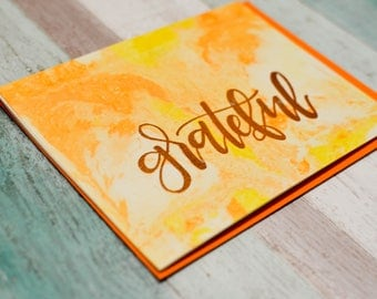 Grateful - Marble Background - Thank You Card