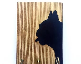 Hand Painted Frenchie Portrait Rustic Leash Holder / Key Hanger. A fun and functional gift for dog lovers!