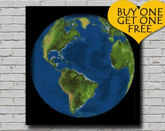 Cross Stitch Pattern Earth Globe Decor World Globe Embroidery America Continent from Space Earth Planet xstitch Diy Chart Downloadable