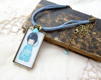 Blue Kokeshi Rectangle necklace