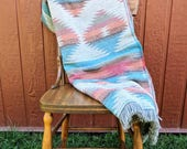 Desert Blanket - Wool Blanket - Throw Blanket - Tribal Blanket - Native Blanket - Picnic Blanket - Wool Throw Blanket - Wool Acrylic Blend