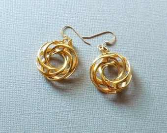 Twisted Torus - 18KT Gold Plated Earrings Made with 3D Printing Technology.  Made-to-Order