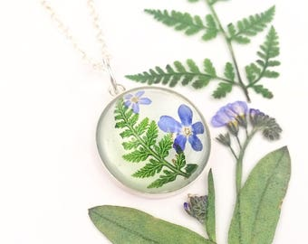 Forest necklace, Christmas gift for mum, Fern jewelry, Pressed fern, Real fern, Forget me not necklace, Memory gift, Silver and flowers