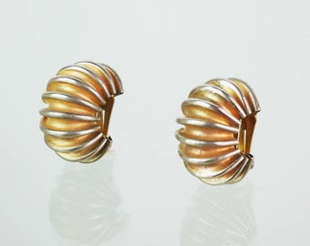 Silver Gold vintage accordion clip earrings