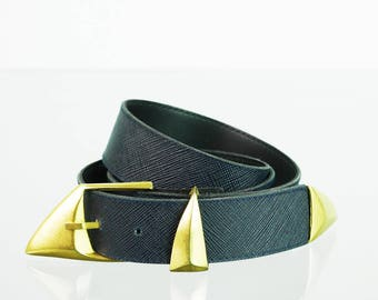 Dark blue waist belt with metal buckle