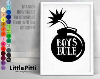 Boys rule print, boys room decor, scandi style print, kids room wall art, boys bedroom, scandi nursery art, baby decor, boys room print