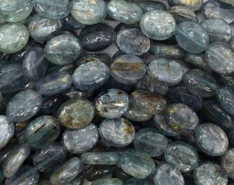 "11mm blue kyanite flat oval beads 15.5"" strand 38769"