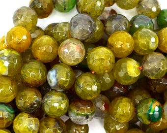 "12mm faceted agate round beads 14"" strand lemon green 38878"