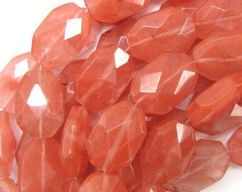 "26mm faceted cherry quartz rectangle beads 15.5"" strand 31377"