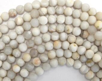 "6mm matte cream crazy lace agate round beads 15.5"" strand 38008"